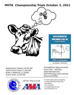 An image of an upcoming event flyer.  It features a cow dreaming of Trials Riders visiting its farm.